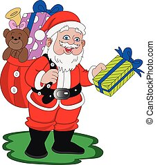 santaclaus, vettore, gifts.