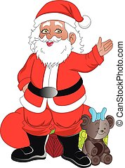 santaclaus, vettore, natale, gifts.