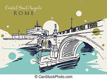 sant'angelo, castel, skiss, teckning, illustration, rom