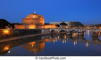 Sant'Angelo, on the banks of the Tiber. Evening, Rome....