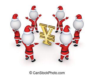 Santas around sign of yen.