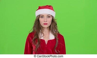 Santas assistant starts smiles. Green screen. Close up -...