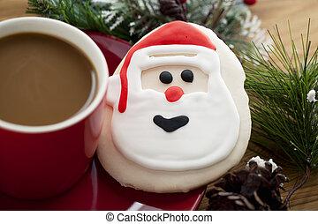 santas, biscoito, e, um, xícara café