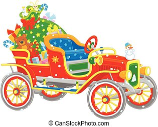 Santa's car with gifts