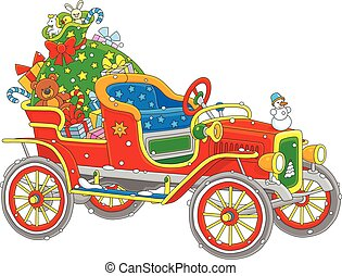 Santa's car with gifts