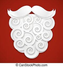 santas, carta, fondo, bianco rosso, barba