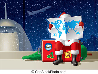 Santa Claus at the airport is sitting on a suitcase and selecting a route for the Christmas travel. Vector illustration.