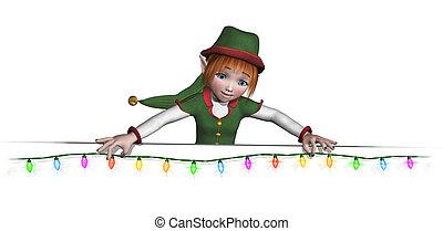 Santa's Elf is Hanging Christmas Lights - Let Santa's elf...