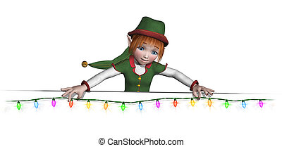 Let Santa's elf help to add some holiday cheer to your documents and posters! Santa's elf is hanging a string of colorful Christmas lights along and edge or border - 3D render.