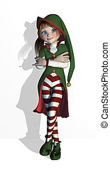 Santa's Elf in a relaxed pose, she can be leaning against a wall, edge or your product - 3D render.