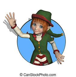 A friendly cartoon Santa's Elf is waving through a circle - 3D render.