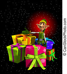 Santas Elf With Presents - Santas Elf with a lot of ...