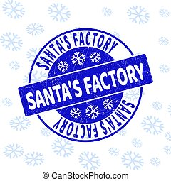 Santa'S Factory Grunge Round Stamp Seal for Christmas