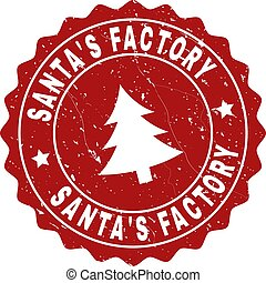 SANTA'S FACTORY Scratched Stamp Seal with Fir-Tree