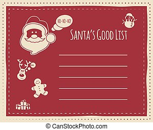 Santa's good list background concept for kids, with space for text. Funny characters included - snowman deer and sweets, gifts. New year, xmas celebration. Vector illustration