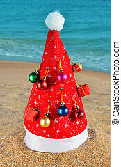 Santa's hat adorned with Christmas decorations