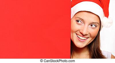 Santa's helper with red board