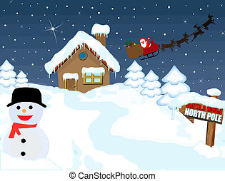 Santa's house at North Pole with snowman and his sleigh...