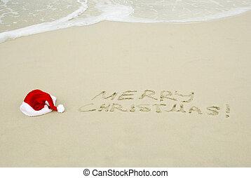 santa\'s, kalap, képben látható, egy, tengerpart