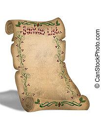 Santa\\\'s List On Parchment - Illustration composition for...