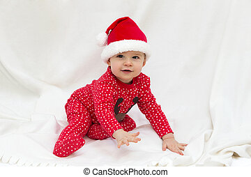 Santas Little Helper - Little Baby Boy Dressed in Santa...