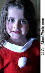 santas little helper - Little girl dressed up for christmas