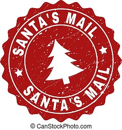 SANTA'S MAIL Grunge Stamp Seal with Fir-Tree
