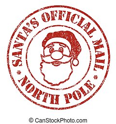 Santa's official mail stamp - Santa's official mail grunge...