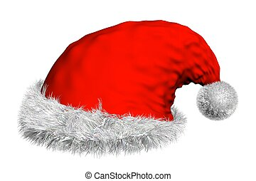 3D render of isolated red Santa's hat with white fur