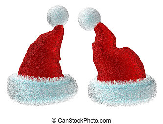 Santa's red hats isolated on white background