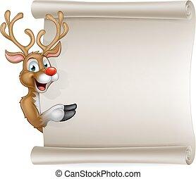 Santas Reindeer Cartoon Christmas Sign - Cartoon Christmas...