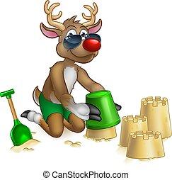 Santas Reindeer in Shades Sunglasses on the Beach