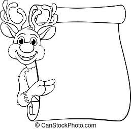 santas, renne, caractère, noël, dessin animé
