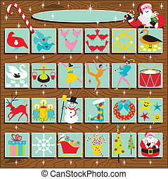 Santa\'s Retro Advent Calendar on a woodgrain background....