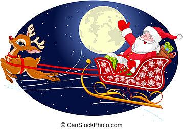 Santa's Sled - Cartoon illustration of Santa Claus flying...