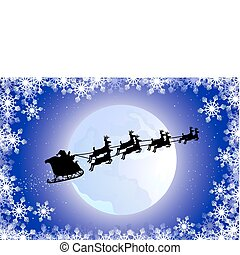 silhouette santa in his sled flying and framed by ice crystal
