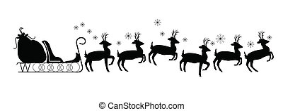 sled with reindeer and no Santa Claus template