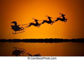 Santas sledge on his way to deliver presents