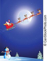 santa's sleigh - Cartoon santa in his sleigh flying over...