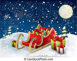 santa?s, sleigh, drzewo, i, śnieg