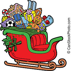 Santa's Sleigh Filled with Christmas Toys and Presents