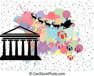 Santa's sleigh flying over Athens