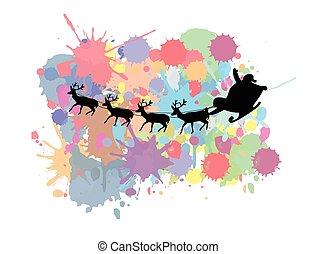 Santa's sleigh flying over colored splash background