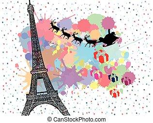Santa's sleigh flying over Paris