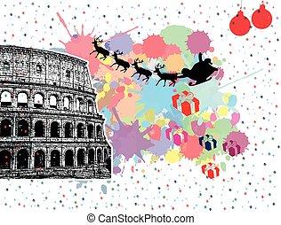 Santa's sleigh flying over Rome