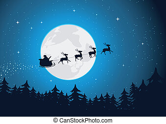Illustration of santa driving his sleigh with reindeers running in the moonlight. Merry christmas !