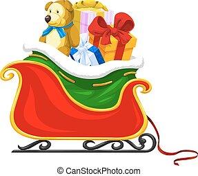 Santa's Sleigh, illustration - Santa's Sleigh Full of ...