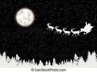 Santa's sleigh in front of full moon