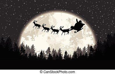 Santa's sleigh in front of full moon