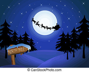 Santa's sleigh in front of the moon and wood sign with North...